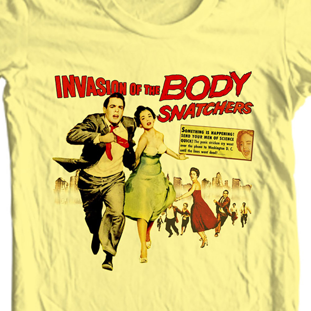 The body snatchers retro vintage sci fi horror film movie t shirts for sale online store. yellow