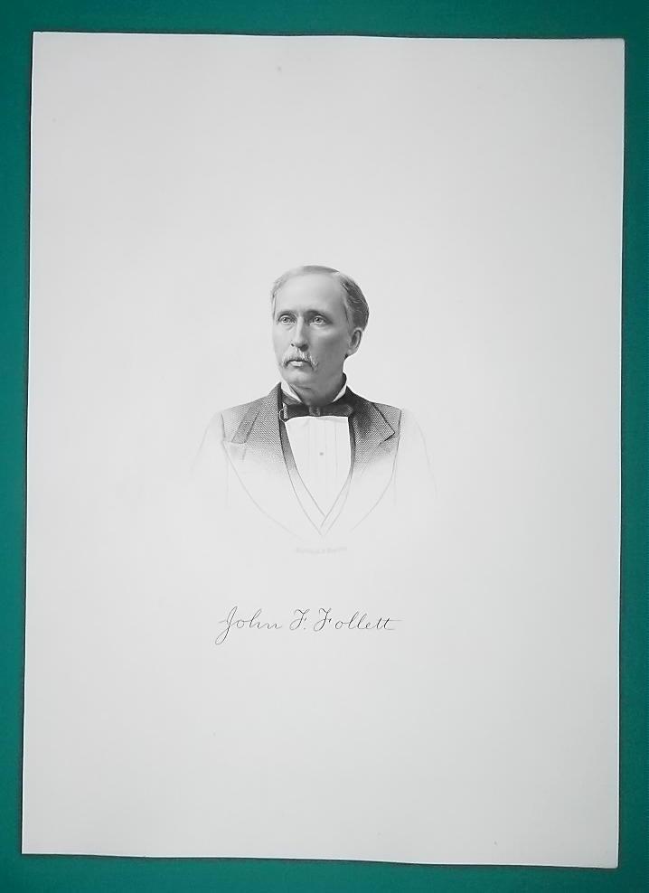 JOHN FOLLETT Vermon7 Born Ohio Lawyer & Legislator - 1881 Superb Portrait Print