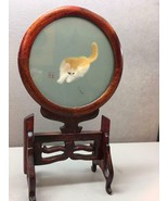 Chinese Double Sided Silk Suzhou Embroidery Art Cat and Cricket, Swivel ... - $177.20