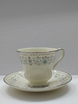 BEAUMARIS by Minton Footed Cup & Saucer Blue Floral - Platinum Ring MINT! - $11.87