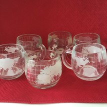 6 Piece set Old Vintage 1970's Nestle Clear Glass Globe World Cups/Mugs ... - $31.68