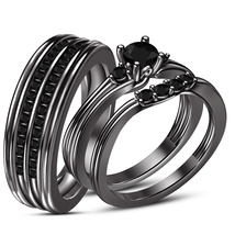 Full Black Gold FN 925 Silver His & Her Trio Wedding Ring Set Free Shipping - $170.20