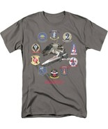 Battlestar Galactica TV Series Pilots & fighters Badge Logos T-Shirt NEW... - $17.99