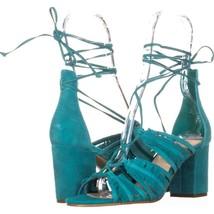 Nine West Genie Lace Up Block Heel Dress Sandals 647, Dark Turquoise, 7.... - $35.51