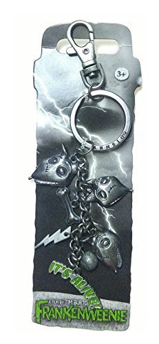 Disney Freenkenweenie Sparky Pewter Key Ring with Dangle Chain and Clip