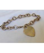 "Sterling Silver 925 Link Bracelet with Engravable Heart charm 7""L - $51.48"