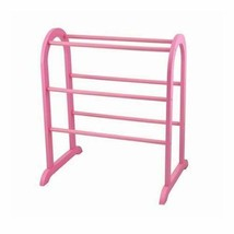 Girls Pink Wooden Quilt Rack Blanket Bedspread Stand Storage Vintage Dis... - $70.19