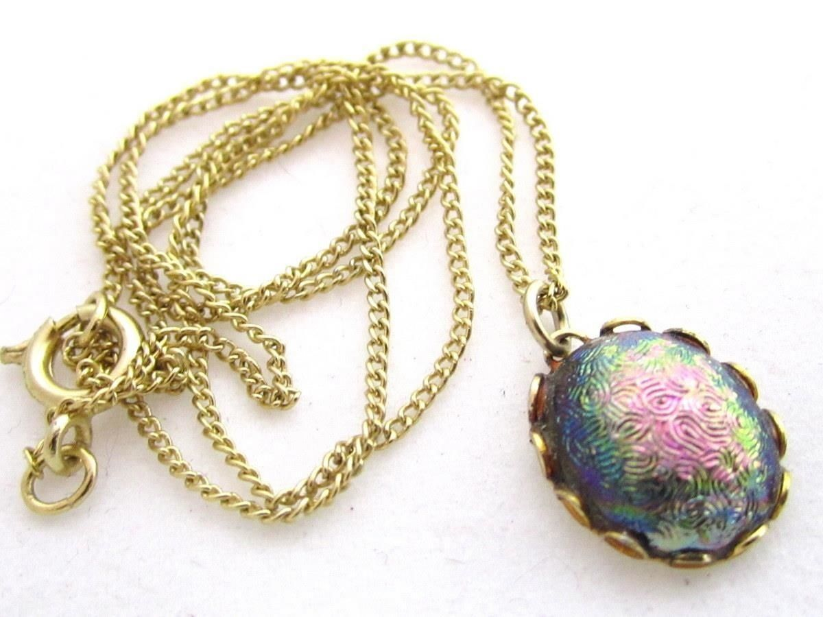 "Irridescent Pink Green Purple Cab Vintage Gold Plated Pendant Necklace*16""*S336"