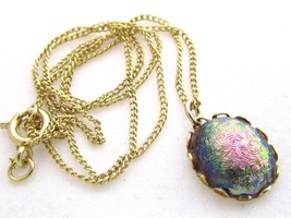 Irridescent Pink Green Purple Cab Vintage Gold Plated Pendant Necklace*1... - $17.81