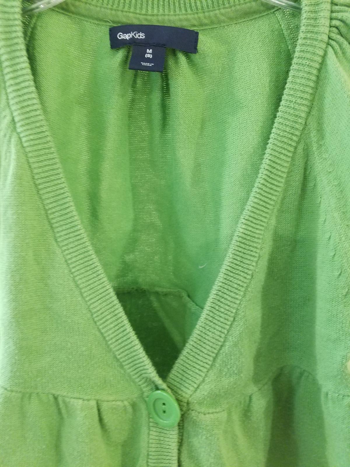 Gap Brand Girls Kids Children Top Sweater Cardigan Size 8 Green Short Sleeves