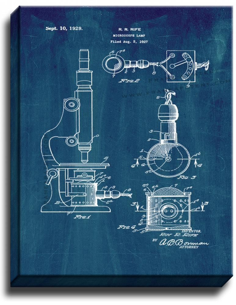 Primary image for Microscope Lamp Patent Print Midnight Blue on Canvas