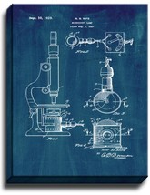 Microscope Lamp Patent Print Midnight Blue on Canvas - $39.95+