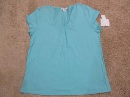 BNWT Liz Claiborne Cap sleeve women's tee, cotton blend, Blue, L, $30 - $7.91