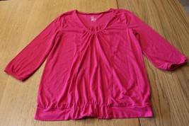 W9855 womens GAP magenta casual SUMMER SHIRT drop banded waist 3/4 sleeve sz S - $5.00