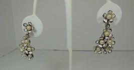 White Enamel Faux Pearl Dangle Floral Screw Back  Earrings - $10.88