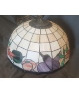 "Vintage 16"" Spectrum Tiffany Hanging Chandelier Lamp Shade Vegetables Th... - $148.25"