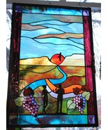Stained Glass Window Panel vineyard winery grape toast love - $375.00