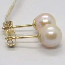 YELLOW GOLD EARRINGS 750 18K, WHITE PEARLS, FRESHWATER, POLE image 6