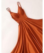 A Line V Neck Floor Length Satin Prom Dresses V Neck Satin Long Graduation Dress - €130,01 EUR