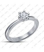 Six prong Solitaire Engagement Ring In 1.00 Ct White Cz .925 Sterling Si... - $48.56