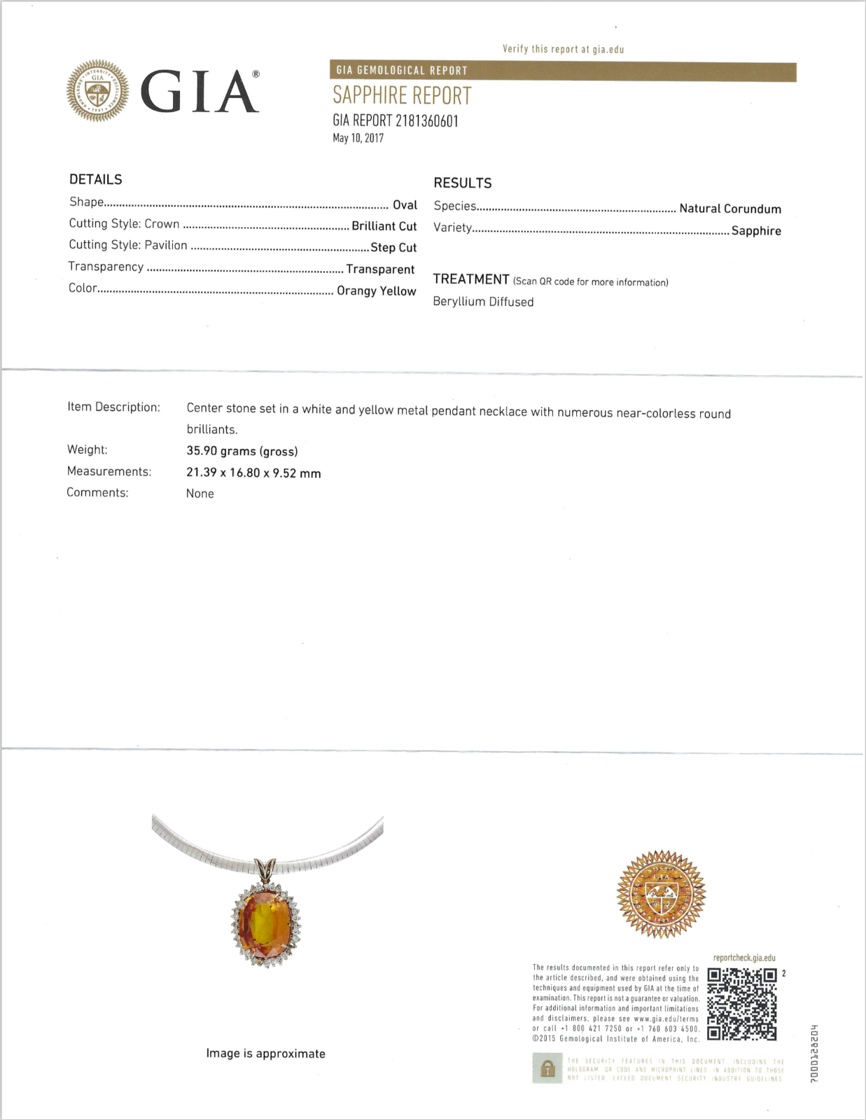 Orange Sapphire Pendant 28.74ct Oval w/ Diamonds GIA Pirate Gold Coins Jewelry