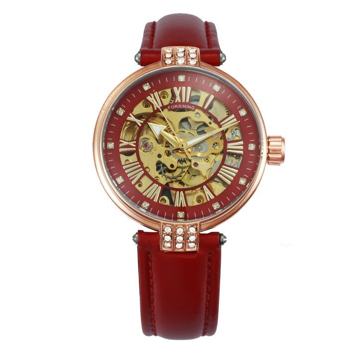 FORSINING Vintage Elegant Women Watch Automatic Mechanical Red Leather Strap Gol image 5