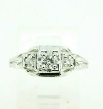 Filigree 18k White Gold Art Deco .39ct Genuine Natural Diamond Ring (#J4... - $950.00