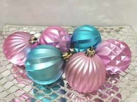 "(6) Adorable! Pink Aqua Easter Christmas Ball Ornaments Decor 2.5""  - $15.99"