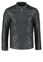 Classy Stand Collar Men Leather Jacket Crafted From Genuine Leather  - $149.00