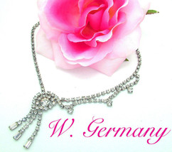 W. Germany Necklace ca. 1950s Clear Rhinestone Vintage Swag Style - $14.95