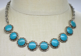 Turquoise Inlay Flower Silver Tone Choker Necklace Vintage - $24.74