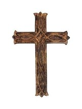 """Wooden Wall Cross Plaque 12"""" Long Hanging with Hand Carvings Religious A... - $39.59"""