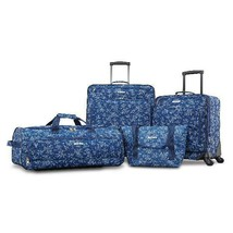 Blue Floral Fieldbrook XLT 4 Piece Softside Luggage Set Durable Polyeste... - $124.91