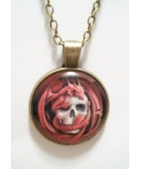 Dragon Wrapped Around A Skull Glass Cabochon Pendant Necklace SC578/630 - $6.98