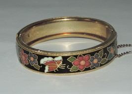 Vintage Asian Cloisonne Butterfly & Flowers Hinged Bangle Bracelet 15 mm... - $14.95