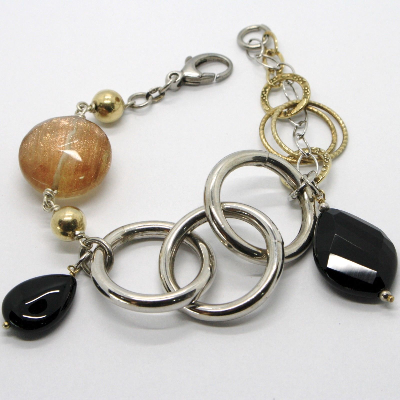 925 STERLING SILVER BRACELET BLACK ONYX BIG DROP, BIG CIRCLES, YELLOW SPHERES