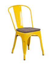 Offex OFX-473746-FF Bistro Metal Stackable Chair with Wood Seat - Yellow - $88.44