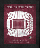 "Florida State Doak Campbell ""Retro"" Stadium Seating Chart 13x16 Framed P... - $39.95"