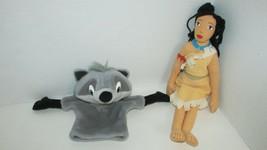 Disney Pocahontas Applause plush rag doll Meeko raccoon puppet 2 pc lot - $6.92