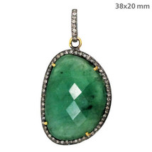 Emerald Gemstone Sterling Silver Pave Diamond Gold Pendant Vintage Style... - $468.87