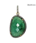 Emerald Gemstone Sterling Silver Pave Diamond Gold Pendant Vintage Style... - $468.87