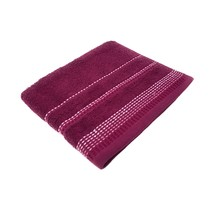 2 X Luxury Striped Bright 100% Combed Cotton Soft Plum Heather Bath Sheet Towel - $35.33