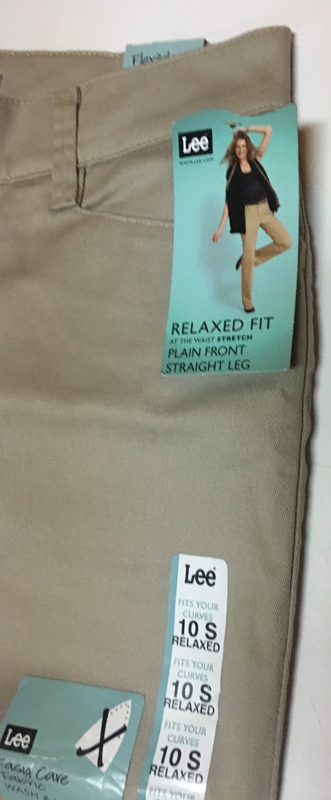 Lee Relaxed Fit Stretch Beige Pants Sz 10 Short Straight Leg NWT image 7
