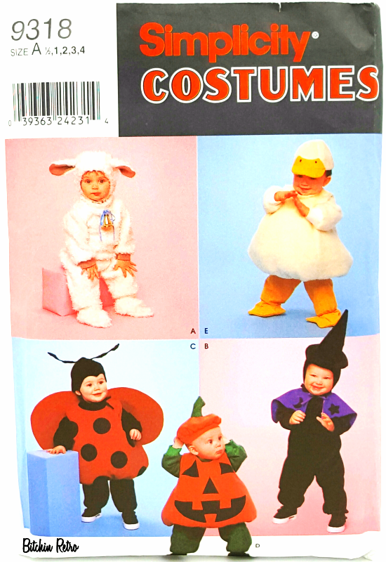 Primary image for Simplicity Sewing Pattern 9318 Toddler Costumes Duck Lamb Ladybug Pumpkin Witch
