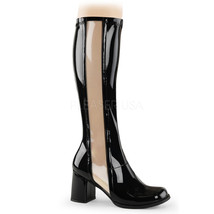 "FUNTASMA Gogo-303 Series 3"" Block Heel Knee-High Boots - Black Str Paten... - $44.95"