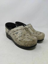 Dansko Womens Clog Shoes Beige French Script Writing Wedge Slip Ons 8.5-... - $26.72