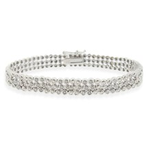 Round Cut 1ct TDW 3-row Diamond Bracelet 14K White Gold Plated Sterling ... - $200.99