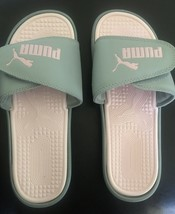 NEW PUMA WOMEN'S VELCRO SANDALS SLIDES ~ SIZE US 9 Grey And Pink. - $54.45