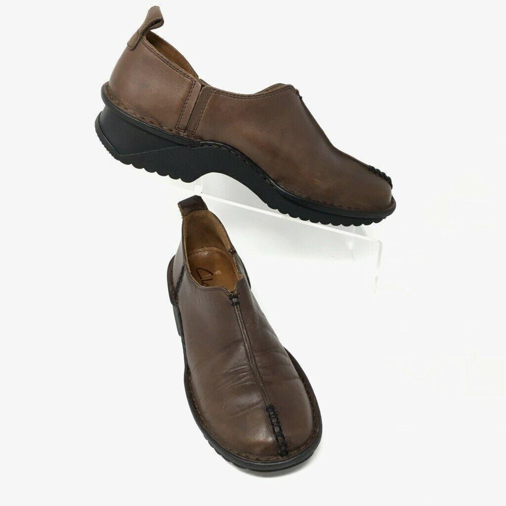 Clarks Leather Slip on Moccasins, Size 6.5M, Brown, Walking Shoe