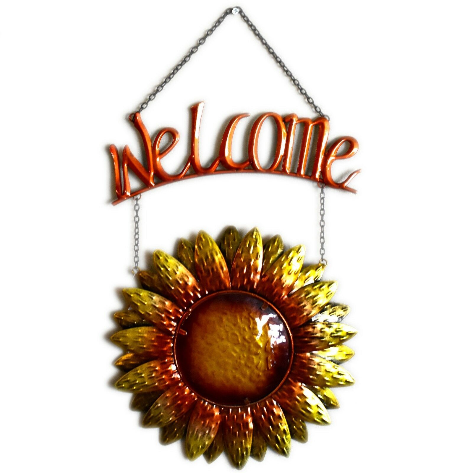Metal & Glass Orange Yellow Fall Colors Hanging Sunflower Welcome Sign Decor